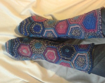 Hexagon socks. Hand knit socks. One of a kind wool socks.