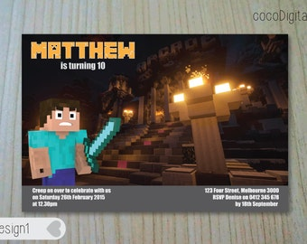 "PRINTED 4x6"" Minecraft Themed Steve Building Birthday Invitation Custom Personalised Printable Girl Boy Any Age Party Supplies"
