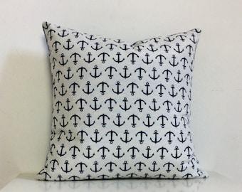 Anchor Cushion White and Navy, Nautical Throw Pillows, Beach Cottage Home Decor, Sailing Interior Design.