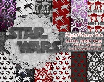 "Star Wars paper: ""STAR WARS DREAMS"" digital paper patterns, Scrapbooking paper, Star Wars instant, Star Wars decoration"