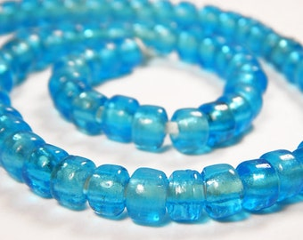 50 Pcs - 9x8mm Transparent Aqua Blue Glass India Crow Beads - Crow Rollers - Glass Pony Beads - Jewelry Supplies