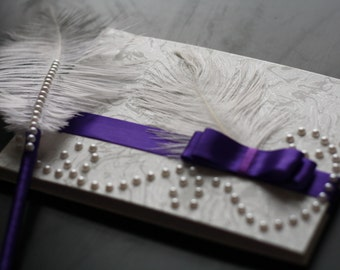 Magenta Guest Book and Feather Pen \ purple sign in book with ostrich feather pen / lilac lavender violet memory book / pearl feather book