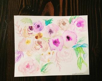 8 x 10 watercolor flowers