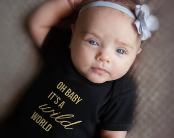 Baby Girl Clothes - Oh Baby It's a Wild World - Glitter Baby Girl Shirt