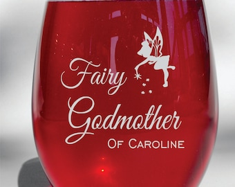 Deep Engraved Dishwasher Safe Fairy Godmother Personalized Glass - Choice of Stemless Wine Glass, Stemmed Wine, Glass Coffee Mug, candle