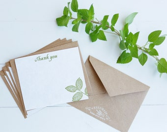 Earth Notes Stationary // Hand-stamped // Hand-made Paper // Thank You Notes