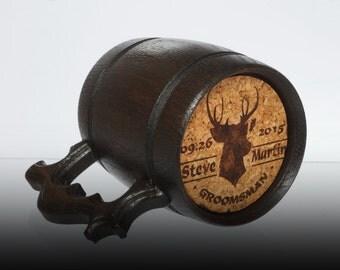 Wooden Beer Mug Stainless Steel Inside Personalized Engraving Groomsmen Gift Best Man