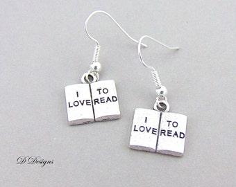 Book Earrings, I Love to Read Earrings, Reading Earrings, Book Lovers Jewellery, Sterling Silver Earrings, Book Lovers Gifts