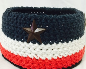 Red White and Blue Crocheted Basket