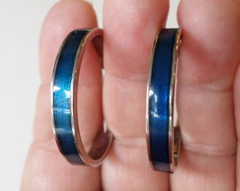 Vintage Silver Tone and Blue Enamel Hoop Earrings.