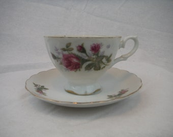 1940s - Floral Bone China Cup and Saucer Set - Vintage, Antique, Usable