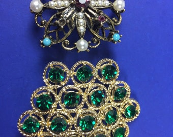 Maltese Cross / Green Honeycomb Brooch