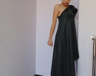 Long Black Dress / Asymmetric Black Dress / Dress For Prom/Party  / M15039