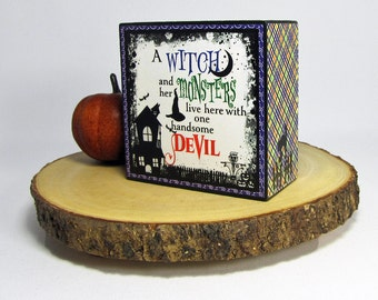 halloween decoration shelf block holiday decor witch tabletop decoration mantel decor - Etsy Halloween Decorations