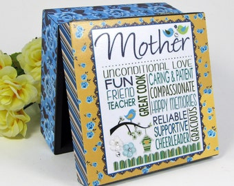 Mother Subway Art - Wood Jewelry Box - Mother's Day - Gift for Mom - Blue Roses - Keepsake Box - Decoupaged Box - Bluebird - Yellow & Blue