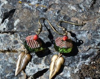 Leafy Green and Coral Earrings