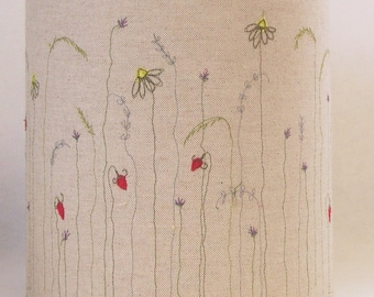 Meadow lampshade, embroidered lampshade, linen lampshade, table lamp, drum lampshade, applique,  wild flower, 20cm lampshade, made to order.