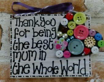 Lovely Wooden Hanging Plaque-'MUM'-lovely added buttons heart-varnish finish-unique gift-birthday