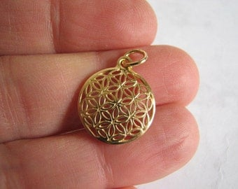 Gold Flower of Life Pendant, 14K Gold filled Flower of Life Charm for Necklaces and Bracelets