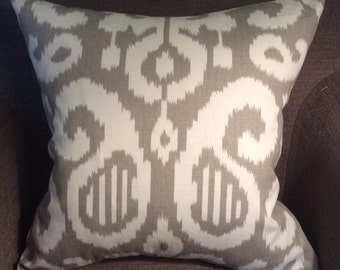 """Ivory Taupe Tan Ikat Pattern Cotton Linen Decorative Pillow Cover Throw Pillow 20"""""""