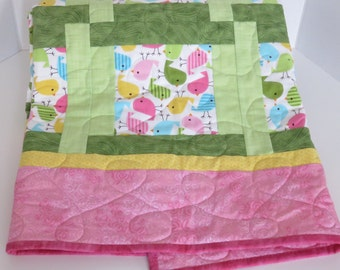 Chicks Baby Girl Quilt, Pink Blue Green Yellow Baby Quilt, Modern Baby Quilt, Nursery Quilt, Crib Quilt, Baby Shower Gift, Quiltsy Handmade