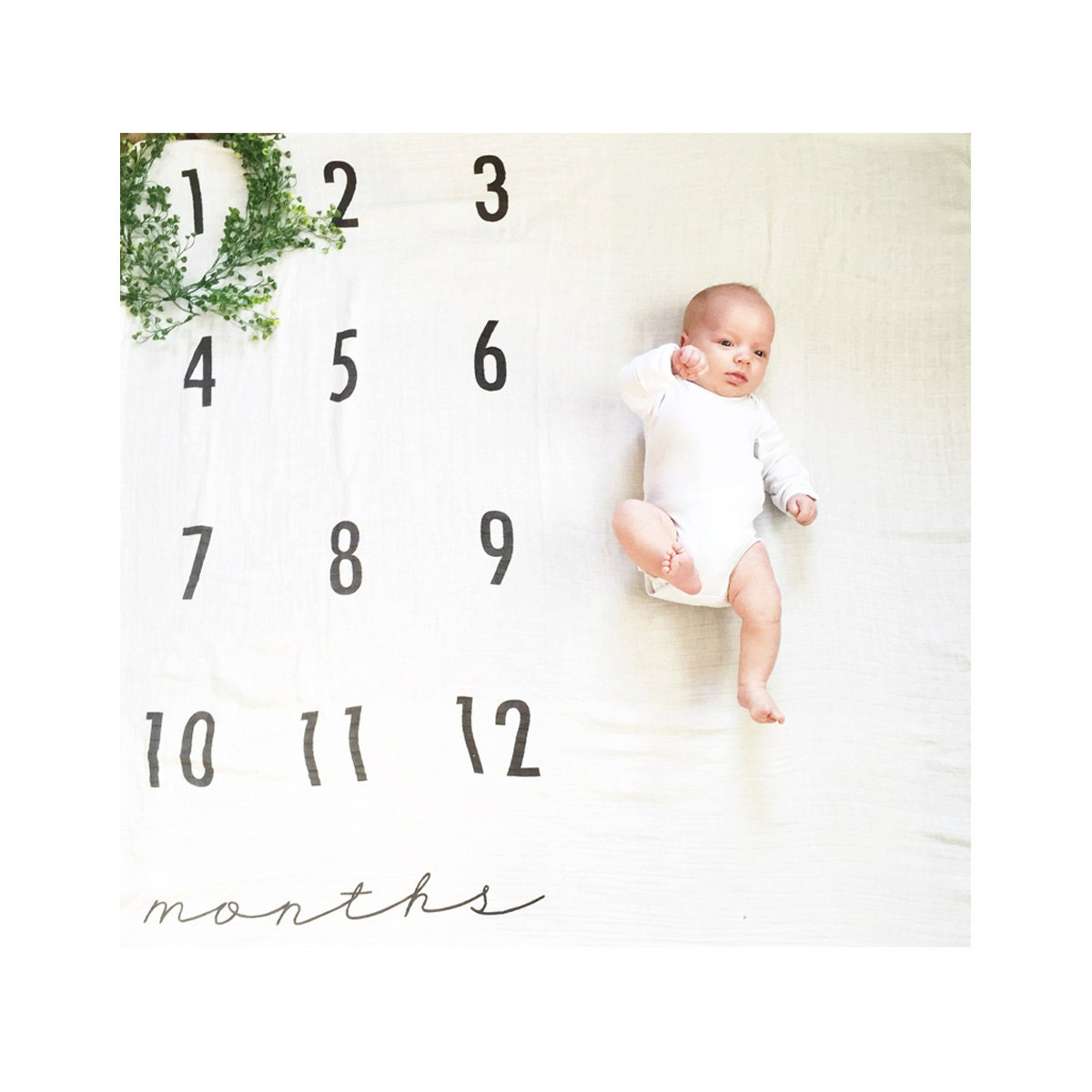 Baby monthly milestone blanket 169 organic cotton muslin by batzkids