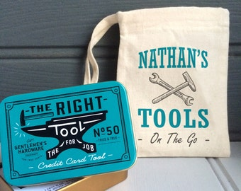 Credit Card Tool Kit - Personalised Tool Kit in Pouch - Mini Tool Kit - Father's Day Gift - Dad Tool Kit - Mini Men's Tool Kit