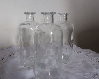 Set of 3 apothecary bottles in clear glass, vase, vintage 80s, France, gift idea, home deco