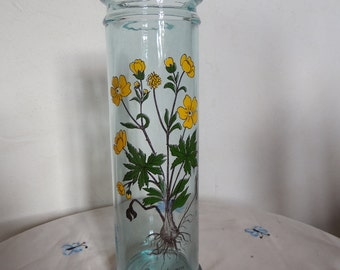 "Great deco herbalist Pot plant ""ranunculus acris"". Vase, vintage 70s/80s, France, botanical collector, botanical art apothecary"