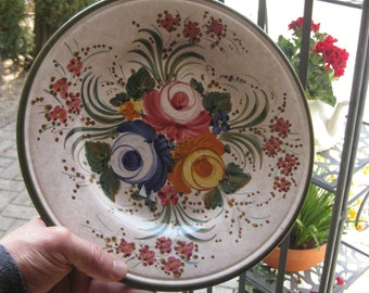 Old plate flowers antique plate majolica plate handpainted by Deruta artist Sberma floral plate pink orange Blau fine ceramic plate