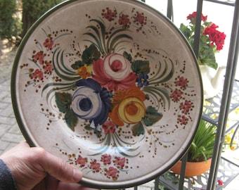 Old plate flowers antique plate majolica plate handpainted by Deruta artist Sberma floral plate pink orange Blau fine ceramic plate