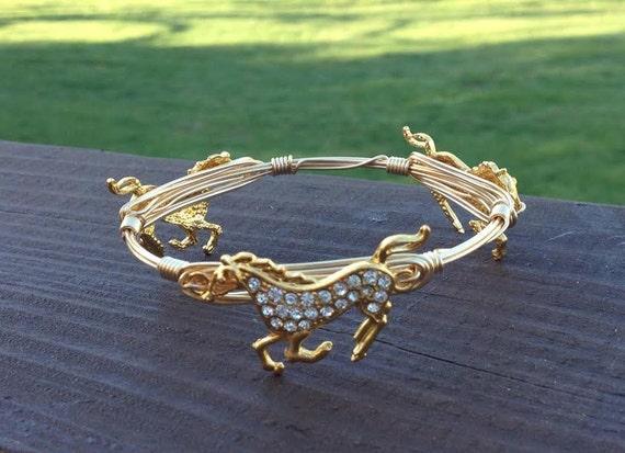 SALE, Horse Bracelet, Horse Bangle Bracelet, Derby Bangle, Wire wrapped bangle, New Year Sale