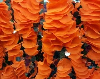 "NEW Pink, Green, Orange Fancy Ruffle Chiffon on Mesh, 60"" inch, sold by the yard"