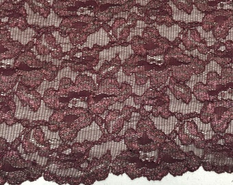 4 way stretch burgundy metallic lace with the scallop edge on both sides