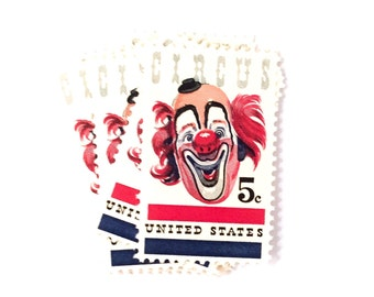 10 x Circus Clown 5 cents UNused Vintage 1966 Postage Stamps for mailing, stamp collecting, art, scrapbooking and collage