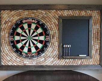 "Made to Order - Wine Cork Dartboard Backer with Scoreboard and Dart Storage 49"" x 29"" | Game Room Décor | Salvaged Cork Dartboard Backer"