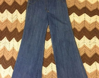 Amazing authentic vintage 1970's lace up flares flared jeans size AU4/24