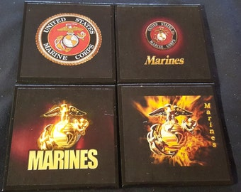 US Marines Ceramic Tile Drink Coasters / Marines Coaster Set