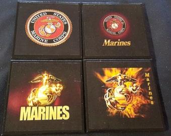 US Marines Ceramic Tile Drink Coasters / Marines Coaster Set