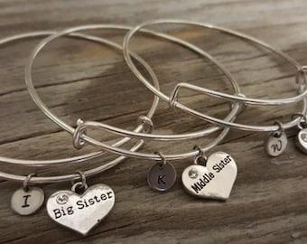Sister Bangle Set -Sister Bracelet Set - Sister Gift Set - Sibling Gift Set - Sister Jewelry Set - Big Middle Little Sister Bangle - Initial