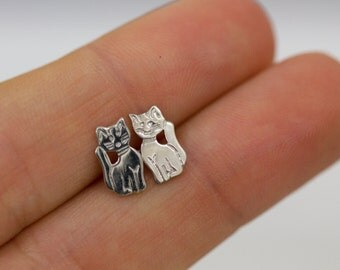 Small Sterling Silver Cat Earrings, Small Studs