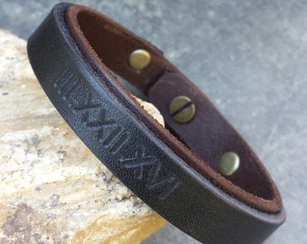 FREE SHIPPING-Men Strap Bracelet, Roman Numerals Bracelet,Custom Bracelet,Men Bracelet,Men Leather Bracelet,Personalized Mens Bracelet