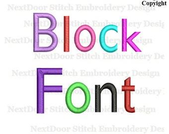 Block embroidery font design, plus BX files , font-024a