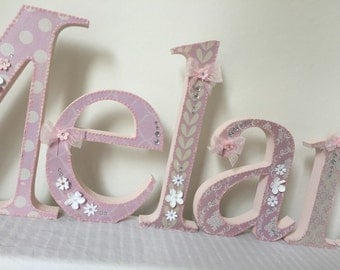 Decorated wooden letters, baby girl nursery decor,free standing,hanging,personalised,custom made,baby pink grey,shabby chic,vintage,homemade