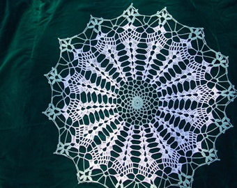 Stunning white and green doily