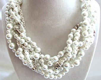 White Pearl Necklace, Wedding Necklace, Bridesmaid Jewelry Set, Chunky Pearl Twisted With Silver Chain, Statement Necklace