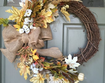 DISCOUNTED TO SELL! Fall grapevine floral and leaf wreath with burlap bow, year round front door wreath, door wreath, fall wreath