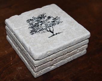 Tree Tile Coasters, Nature Coasters, Travertine Stone Coasters, Stamped Tiles