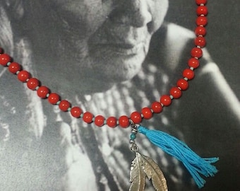 Mala Bead & Turqoise Necklace with Feather Pendant