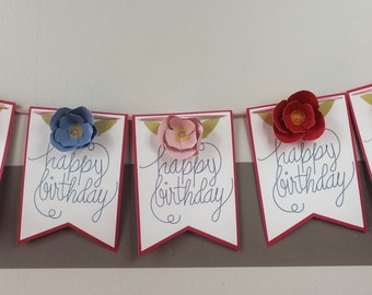 Happy Birthday Banner with Blue, Red, and Pink Flowers for Parties, Weddings